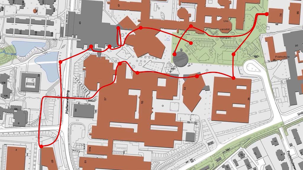 Karte mit Route der Campusführung
